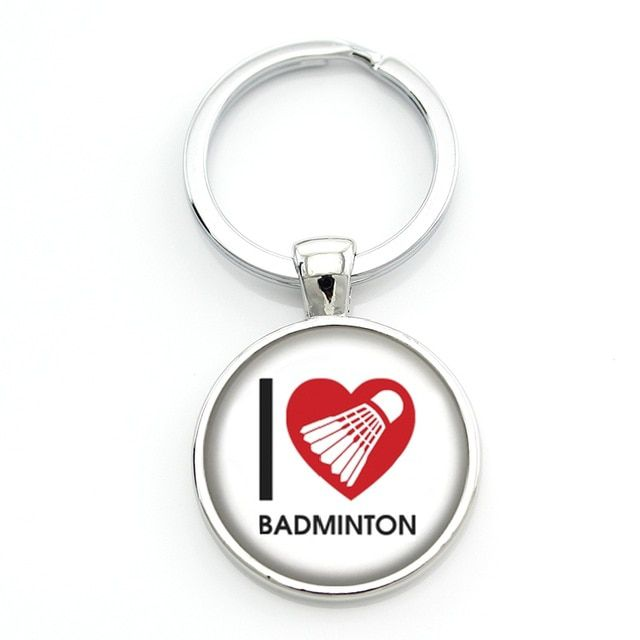 Porte-clés badminton I LOVE BAD - blanc