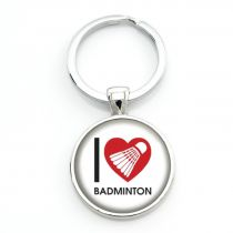 Porte-clés badminton I LOVE BAD - blanc