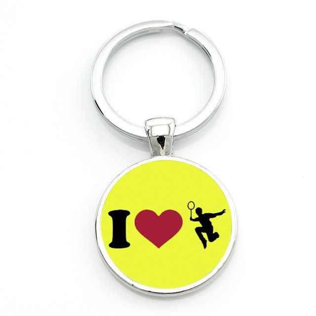 Porte-clés badminton I LOVE BAD - jaune