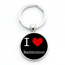 Porte-clés badminton I LOVE BAD - noir