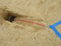 Tracé de badminton extérieur sur sable et son dispositif de maintien – compétition